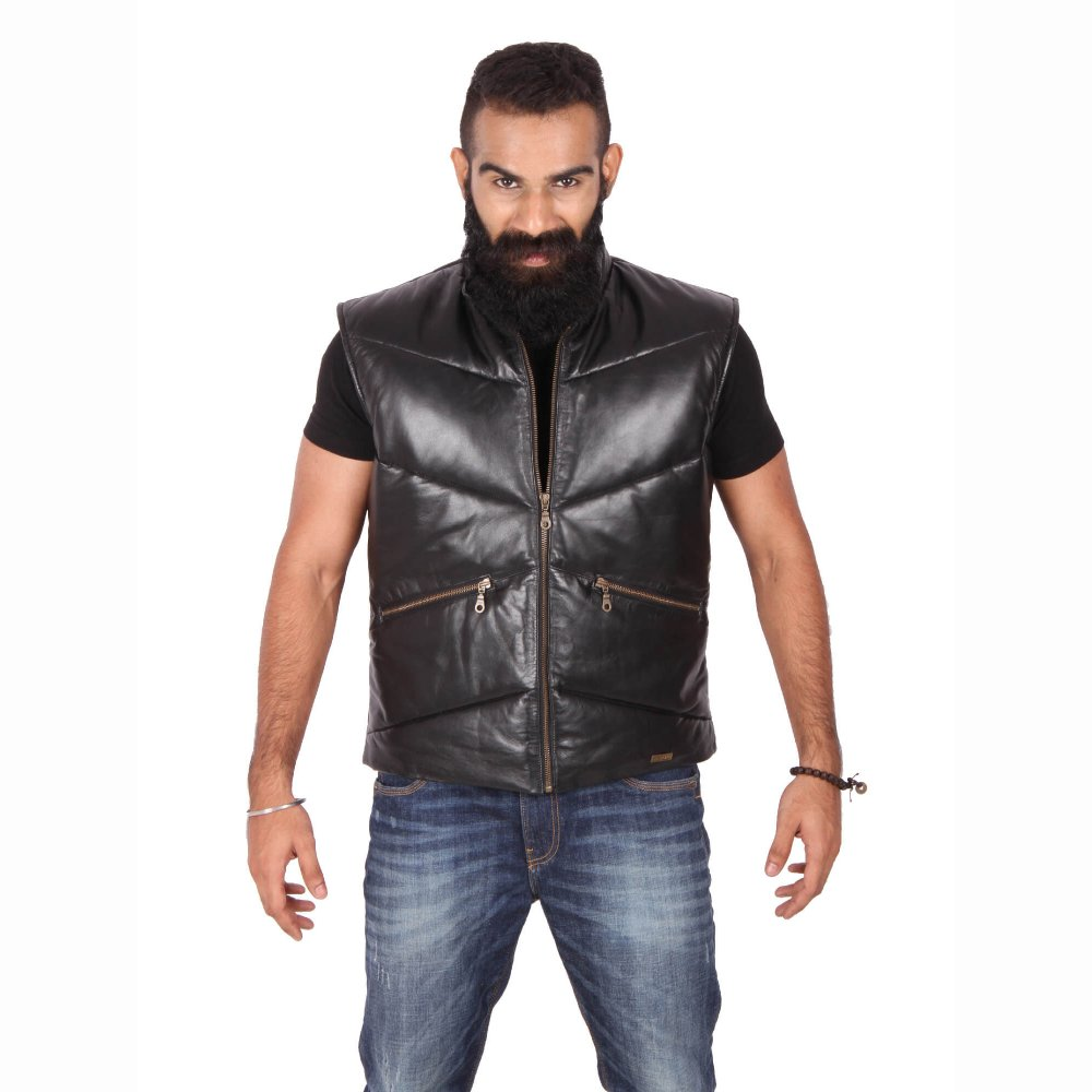 Theo Amp Ash Buy Black Sleeveless Leather Jacket For Men