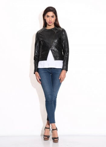 Women's Black Metal Studded Jacket
