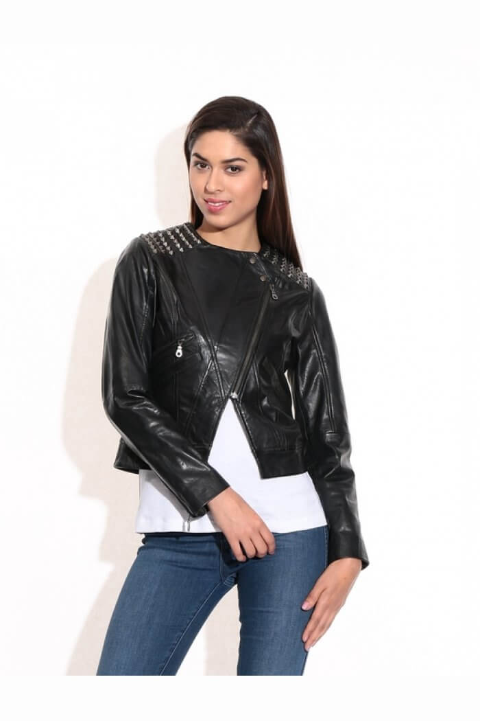 Theo&Ash - Buy women's leather jackets online, black metal studded ...