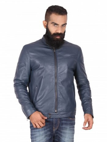 Round Neck Leather Jacket