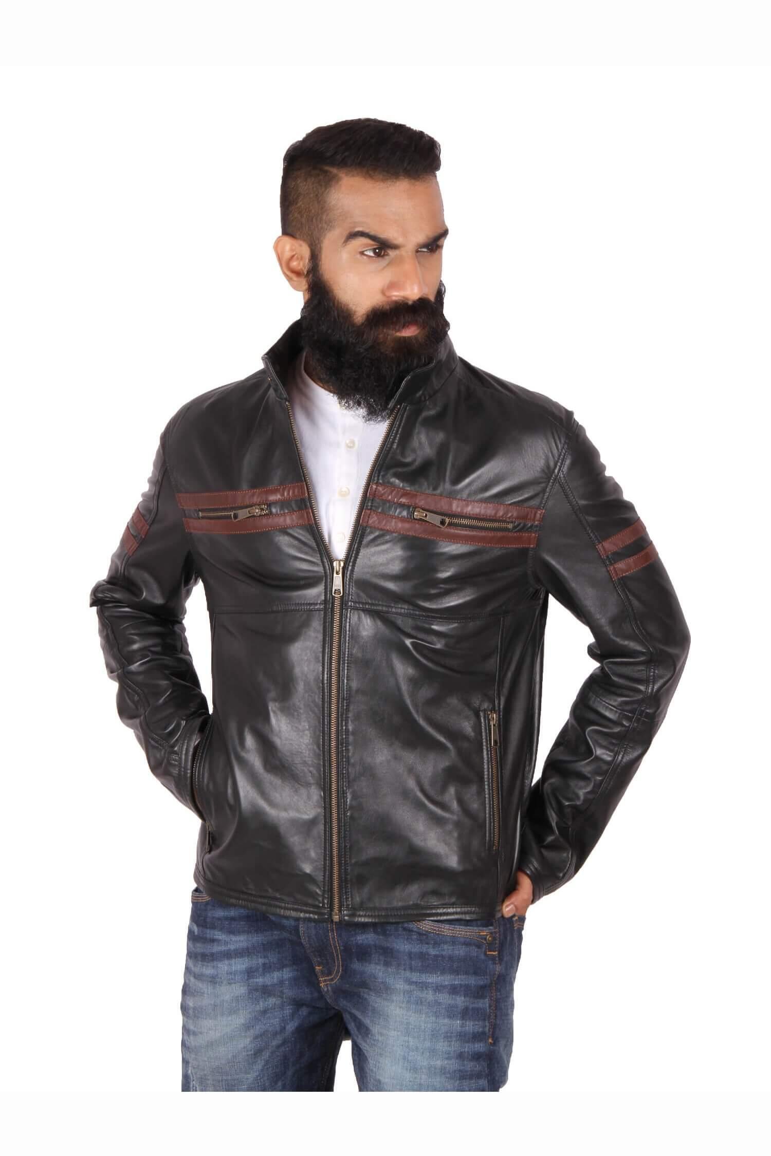 Leather jacket india - Stylish Motorcycle Jacket