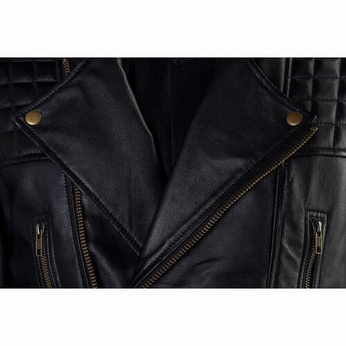 Men's Black Quilted Biker Leather Jacket