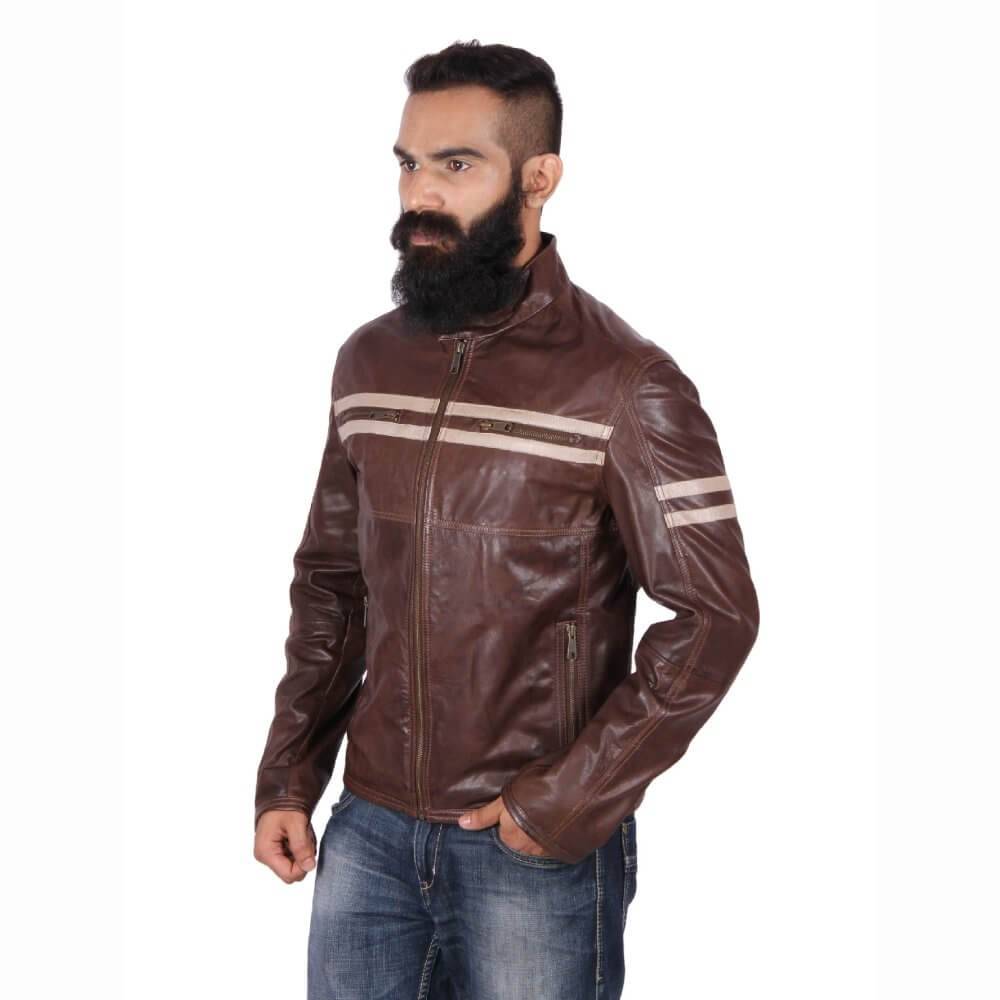 Theo Amp Ash Buy Classic Brown Motorcycle Leather Jacket For