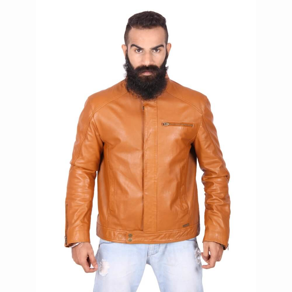 Theo Amp Ash Buy Round Neck Tan Leather Jacket For Men