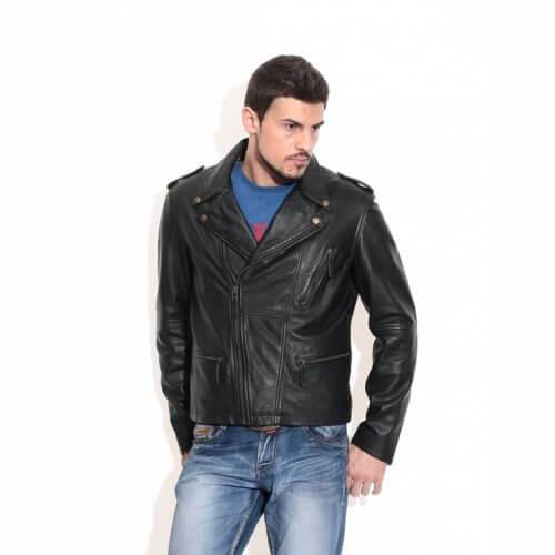 Men's Black Vintage Biker Leather Jacket