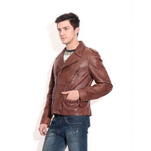 Men's Brown Vintage Biker Leather Jacket