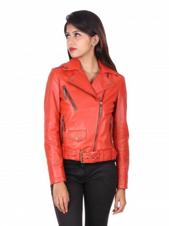 Red Biker Leather Jacket