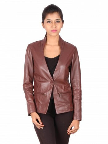 Vintage Brown Leather Blazer
