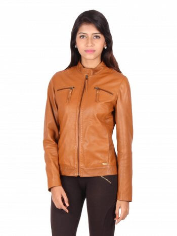 Classic Tan Motorcycle Jacket