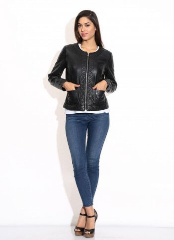 Black Round Neck Quilted Leather Jacket