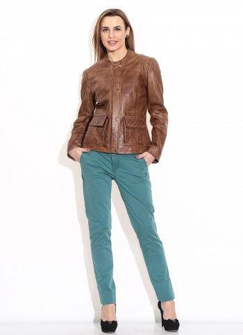 Brown Brezan Panelled Leather Jacket