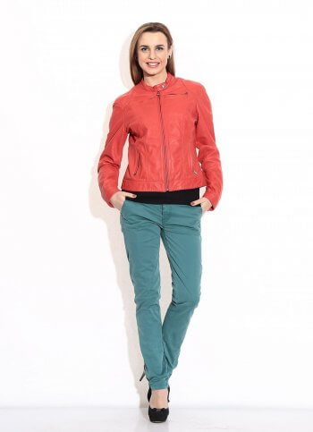 Red High Collar Leather Jacket