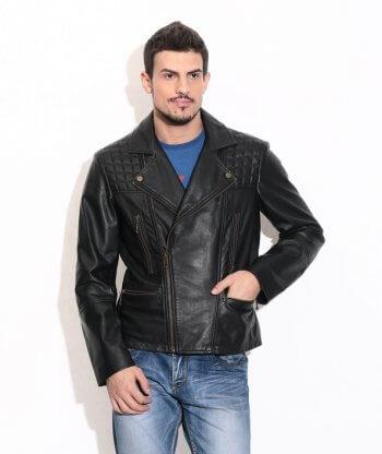 Men's Black Quilted Biker Leather Jacket