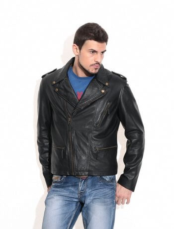 Men's Black Vintage Biker Leather Jacket