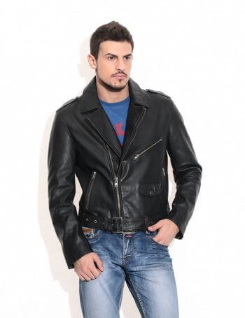 Men's Black Biker Leather Jacket