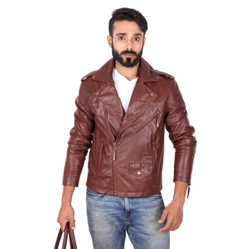 Classic Brown Motorcycle Jacket