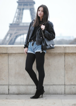 Girl wearing leather jacket